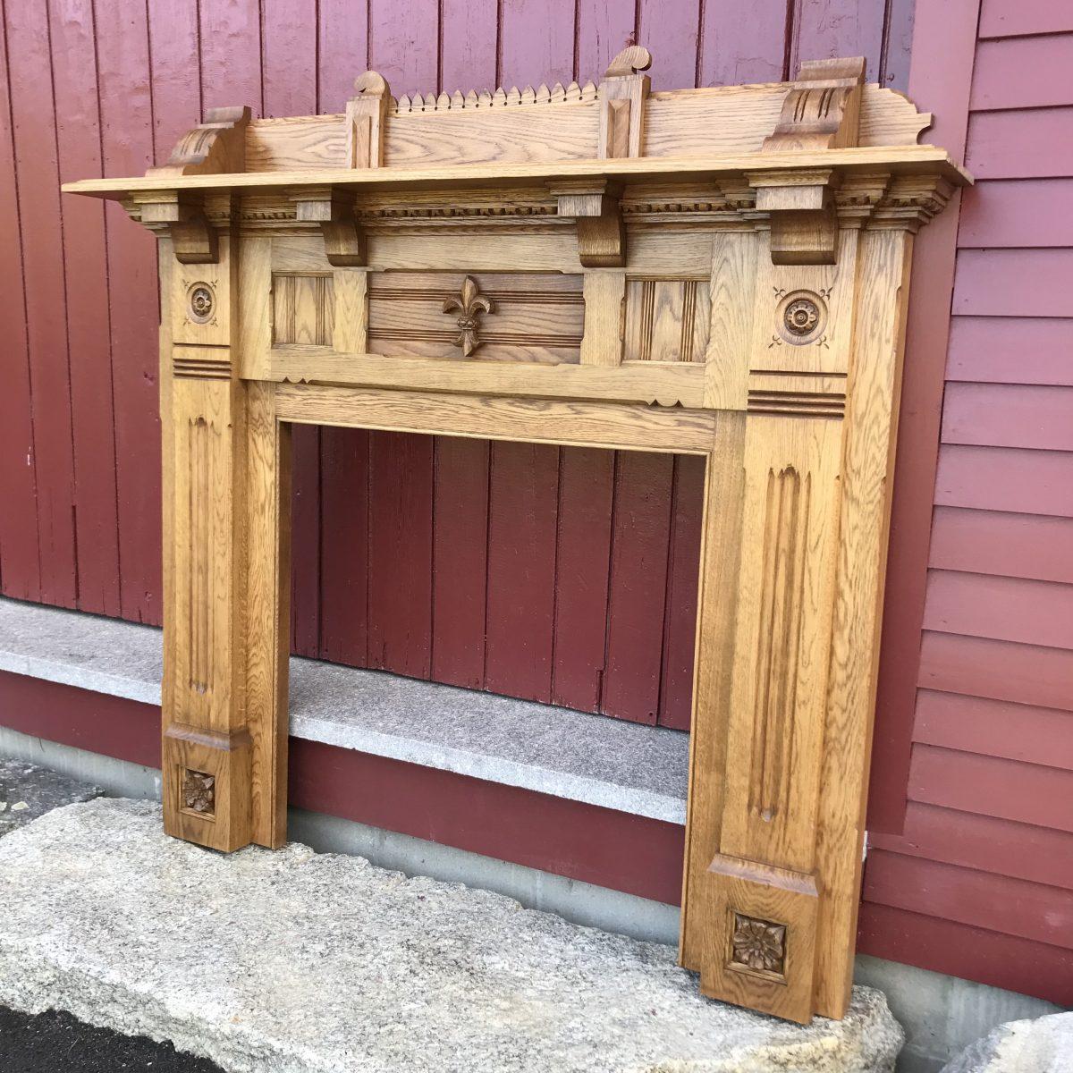 White Oak Carved Mantel